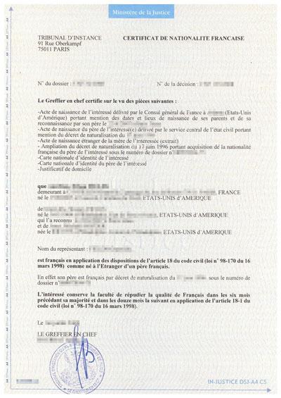 modele certificat nationalite document